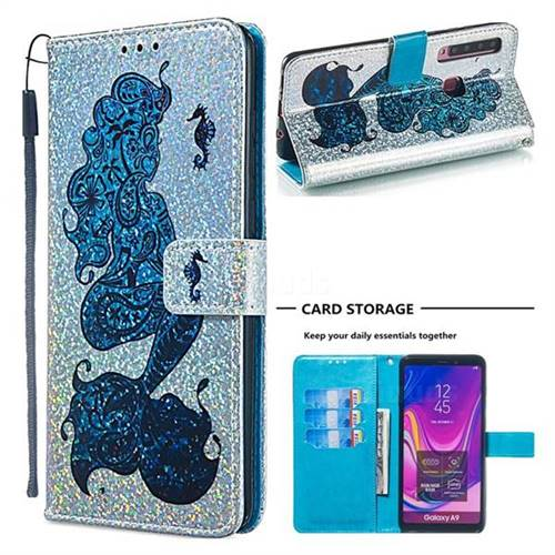 Mermaid Seahorse Sequins Painted Leather Wallet Case for Samsung Galaxy A9 (2018) / A9 Star Pro / A9s