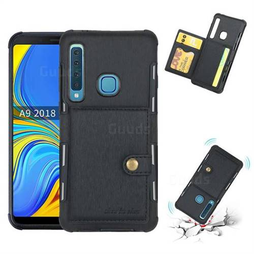 Brush Multi-function Leather Phone Case for Samsung Galaxy A9 (2018) / A9 Star Pro / A9s - Black