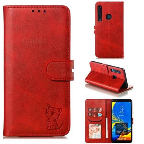 Embossing Happy Cat Leather Wallet Case for Samsung Galaxy A9 (2018) / A9 Star Pro / A9s - Red