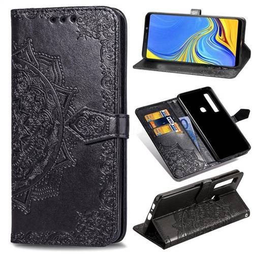 Embossing Imprint Mandala Flower Leather Wallet Case for Samsung Galaxy A9 (2018) / A9 Star Pro / A9s - Black