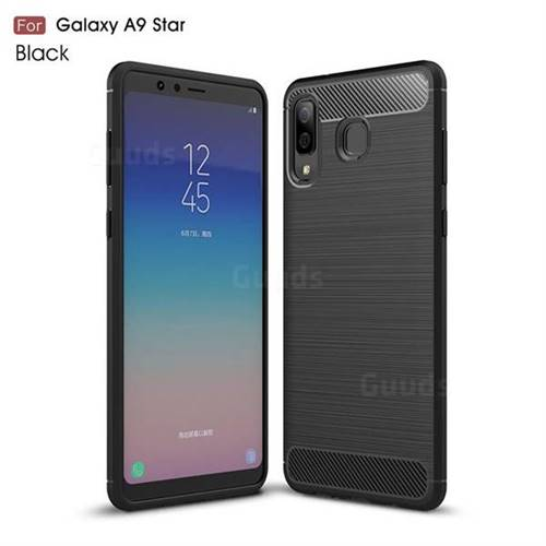 Luxury Carbon Fiber Brushed Wire Drawing Silicone TPU Back Cover for Samsung Galaxy A8 Star (A9 Star) - Black