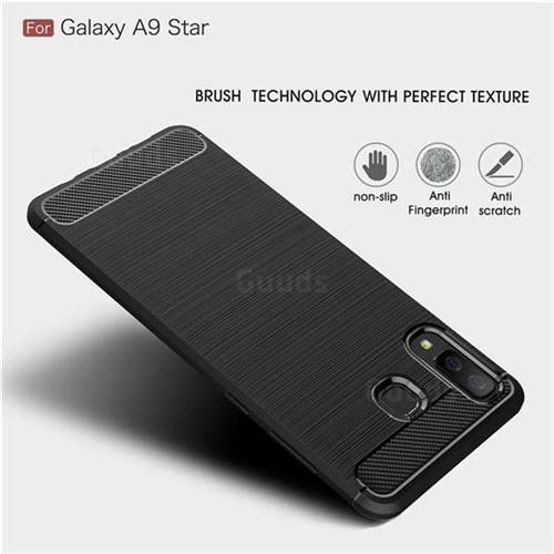 premium selection 9b3a2 a9a26 Luxury Carbon Fiber Brushed Wire Drawing Silicone TPU Back Cover for  Samsung Galaxy A8 Star (A9 Star) - Black