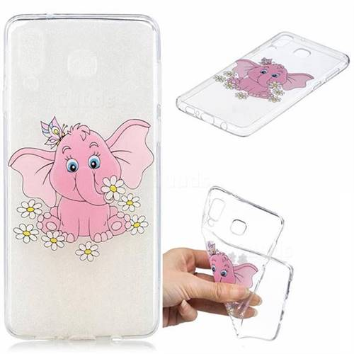 Tiny Pink Elephant Clear Varnish Soft Phone Back Cover for Samsung Galaxy A8 Star (A9 Star)
