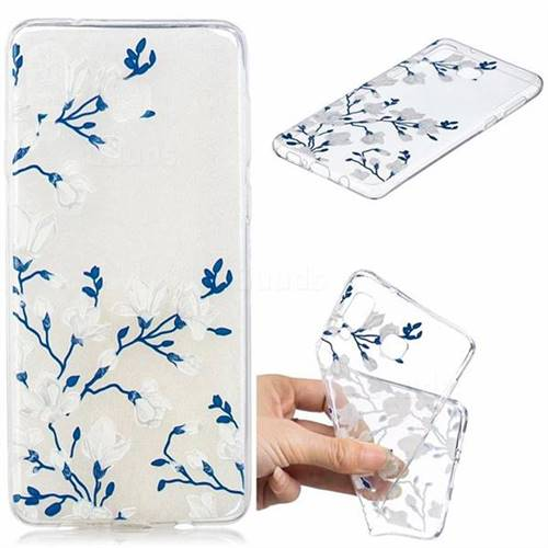 Magnolia Flower Clear Varnish Soft Phone Back Cover for Samsung Galaxy A8 Star (A9 Star)