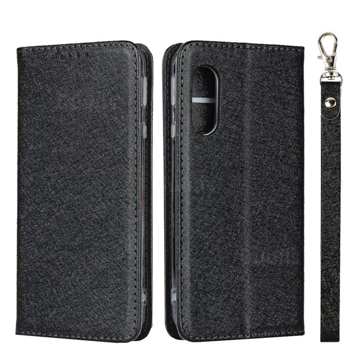 Ultra Slim Magnetic Automatic Suction Silk Lanyard Leather Flip Cover for Sharp AQUOS sense3 Lite SH-RM12 - Black