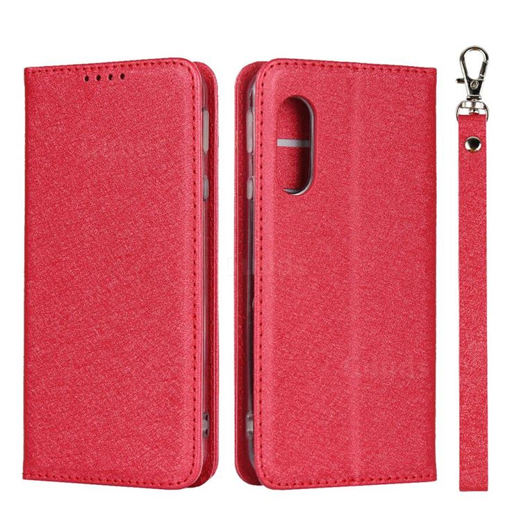 Ultra Slim Magnetic Automatic Suction Silk Lanyard Leather Flip Cover for Sharp AQUOS sense3 Lite SH-RM12 - Red