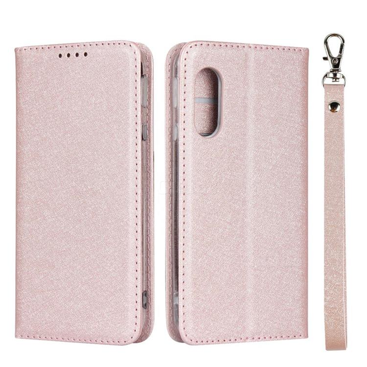 Ultra Slim Magnetic Automatic Suction Silk Lanyard Leather Flip Cover for Sharp AQUOS sense3 Lite SH-RM12 - Rose Gold