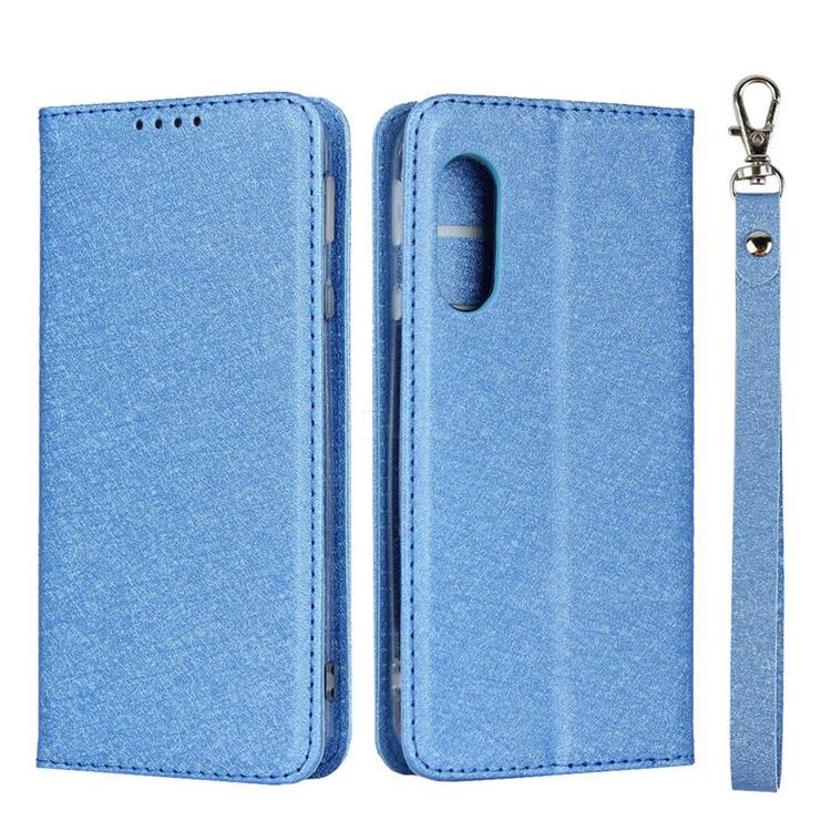Ultra Slim Magnetic Automatic Suction Silk Lanyard Leather Flip Cover for Sharp AQUOS sense3 Lite SH-RM12 - Sky Blue