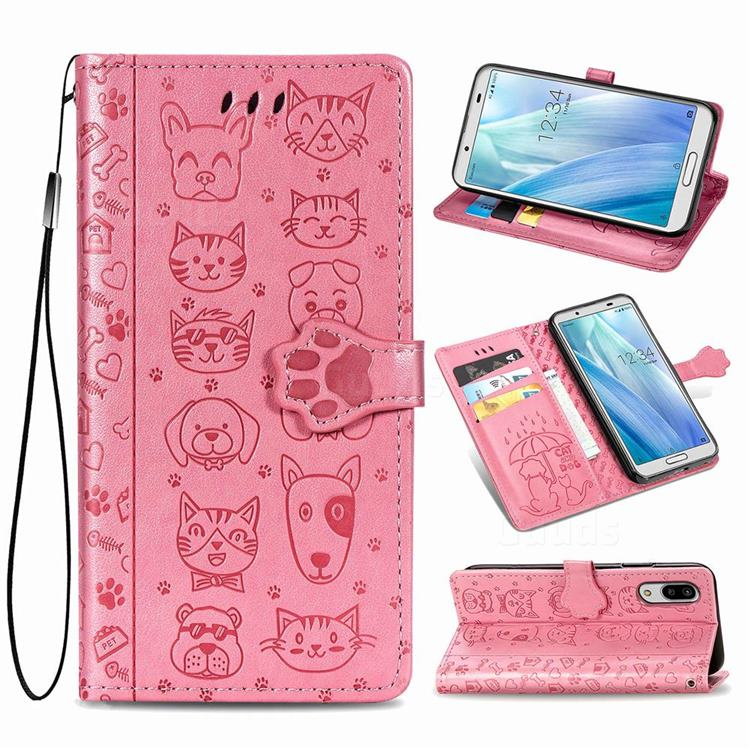 Embossing Dog Paw Kitten and Puppy Leather Wallet Case for Sharp AQUOS sense3 Lite SH-RM12 - Pink