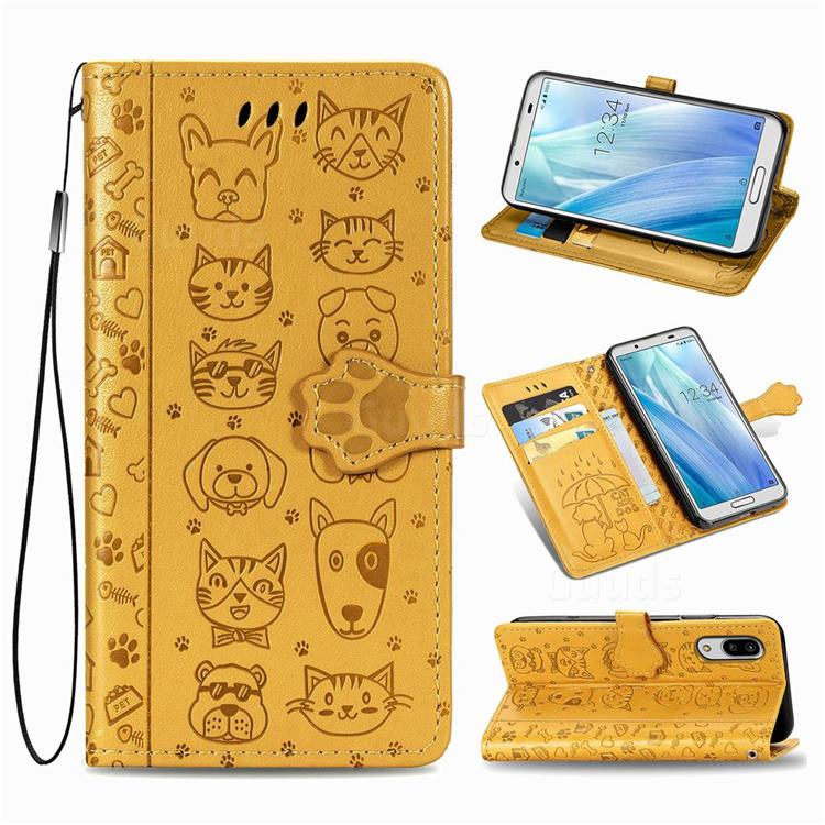Embossing Dog Paw Kitten and Puppy Leather Wallet Case for Sharp AQUOS sense3 Lite SH-RM12 - Yellow