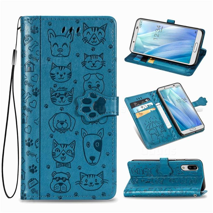 Embossing Dog Paw Kitten and Puppy Leather Wallet Case for Sharp AQUOS sense3 Lite SH-RM12 - Blue