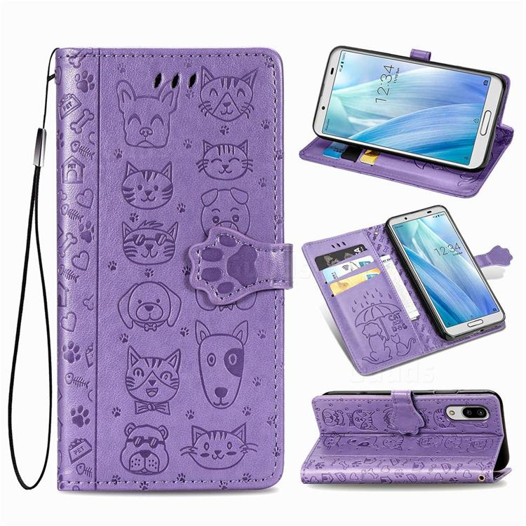 Embossing Dog Paw Kitten and Puppy Leather Wallet Case for Sharp AQUOS sense3 Lite SH-RM12 - Purple