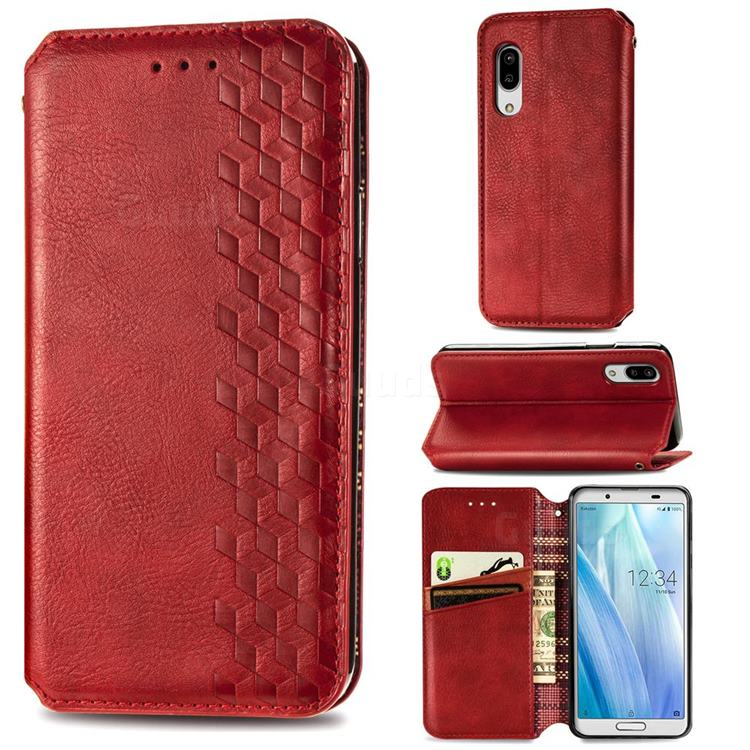 Ultra Slim Fashion Business Card Magnetic Automatic Suction Leather Flip Cover for Sharp AQUOS sense3 Lite SH-RM12 - Red