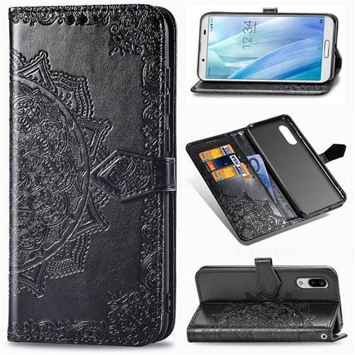 Embossing Imprint Mandala Flower Leather Wallet Case for Sharp AQUOS sense3 Plus SHV46 - Black