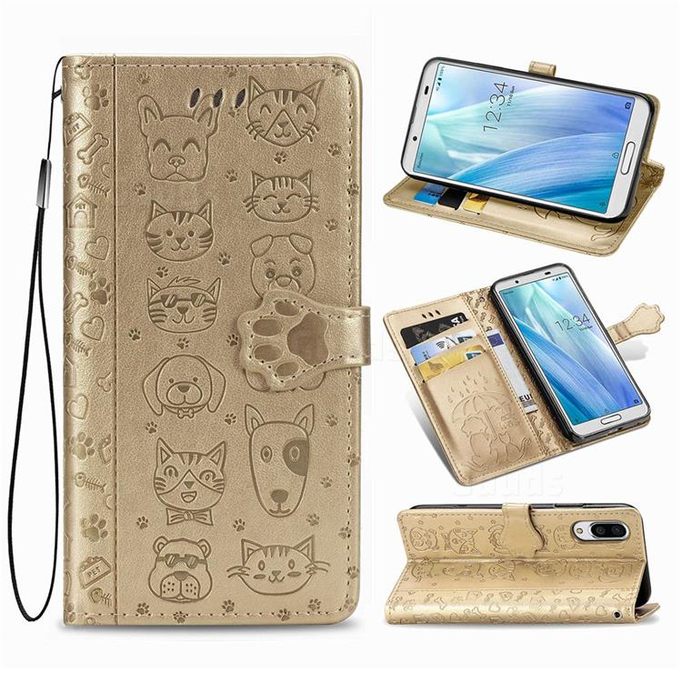 Embossing Dog Paw Kitten and Puppy Leather Wallet Case for Sharp AQUOS sense3 Plus SHV46 - Champagne Gold