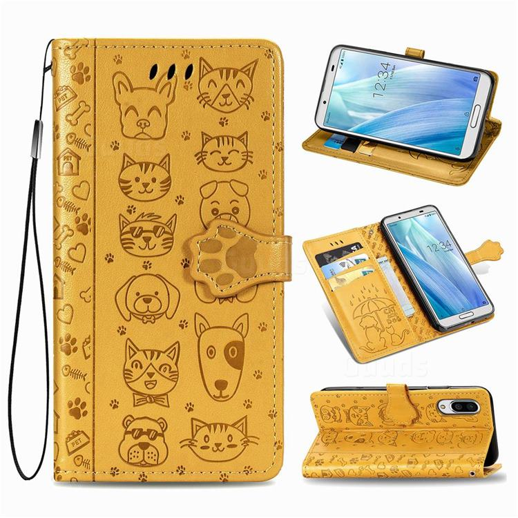 Embossing Dog Paw Kitten and Puppy Leather Wallet Case for Sharp AQUOS sense3 Plus SHV46 - Yellow