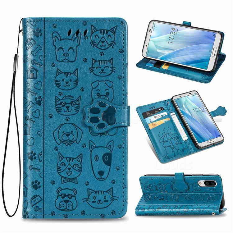 Embossing Dog Paw Kitten and Puppy Leather Wallet Case for Sharp AQUOS sense3 Plus SHV46 - Blue