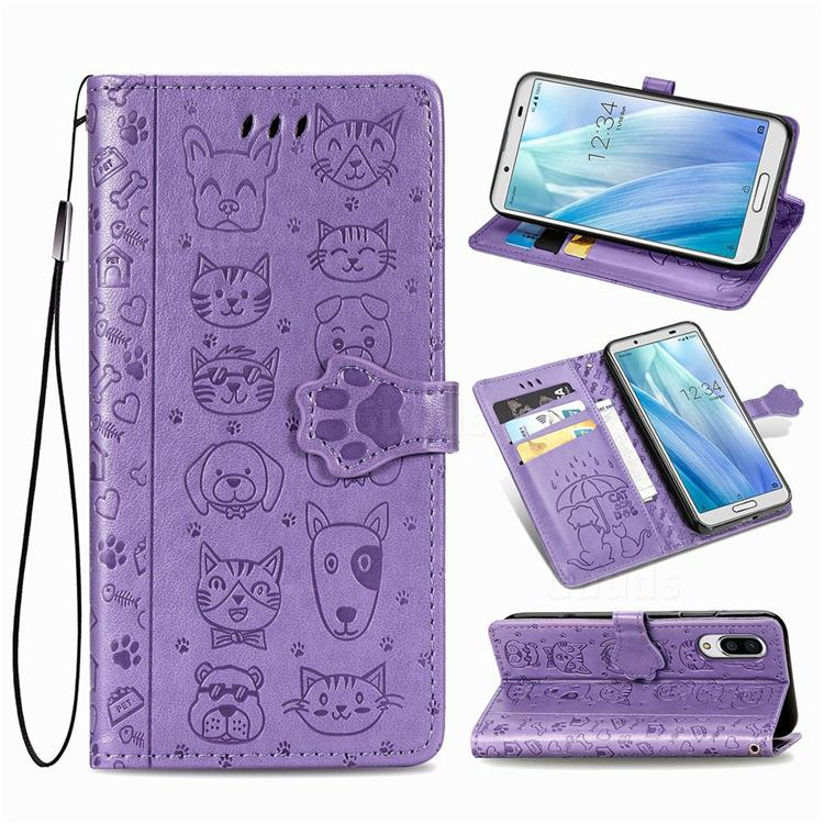Embossing Dog Paw Kitten and Puppy Leather Wallet Case for Sharp AQUOS sense3 Plus SHV46 - Purple