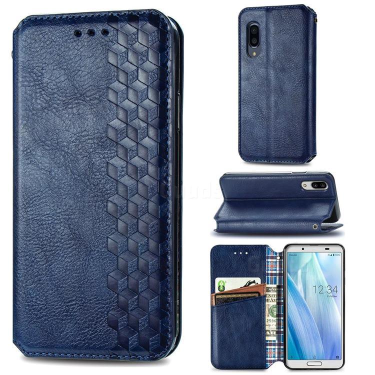 Ultra Slim Fashion Business Card Magnetic Automatic Suction Leather Flip Cover for Sharp AQUOS sense3 Plus SHV46 - Dark Blue