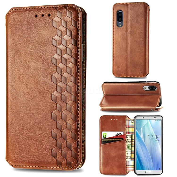 Ultra Slim Fashion Business Card Magnetic Automatic Suction Leather Flip Cover for Sharp AQUOS sense3 Plus SHV46 - Brown