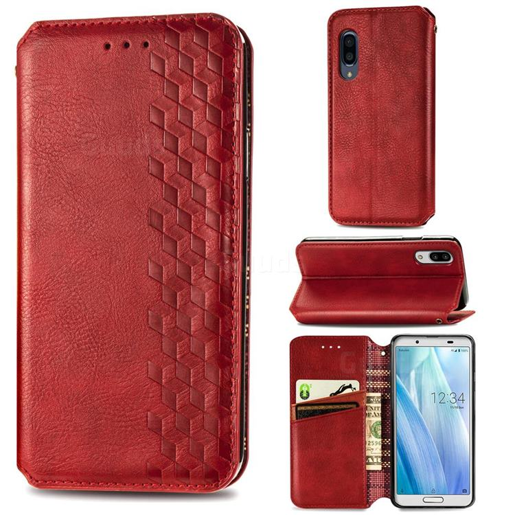 Ultra Slim Fashion Business Card Magnetic Automatic Suction Leather Flip Cover for Sharp AQUOS sense3 Plus SHV46 - Red