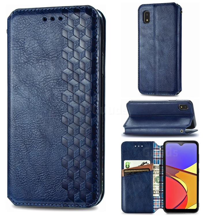 Ultra Slim Fashion Business Card Magnetic Automatic Suction Leather Flip Cover for Docomo Galaxy A21 Japan SC-42A - Dark Blue