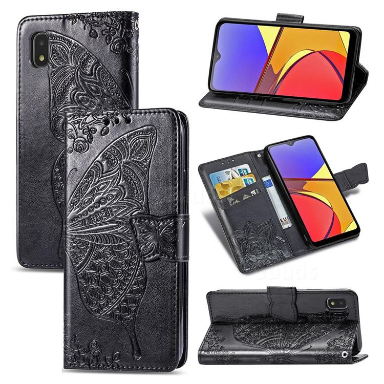 Embossing Mandala Flower Butterfly Leather Wallet Case for Docomo Galaxy A21 Japan SC-42A - Black