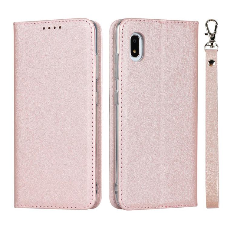 Ultra Slim Magnetic Automatic Suction Silk Lanyard Leather Flip Cover for Docomo Galaxy A21 Japan SC-42A - Rose Gold