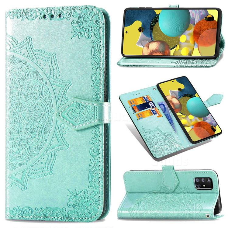 Embossing Imprint Mandala Flower Leather Wallet Case for Docomo Galaxy A51 5G SC-54A - Green