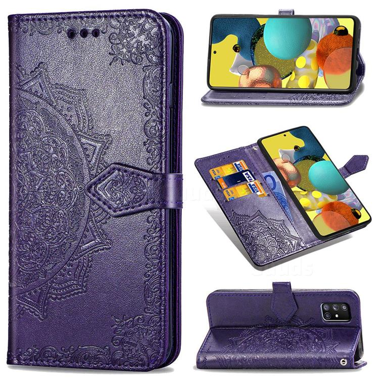 Embossing Imprint Mandala Flower Leather Wallet Case for Docomo Galaxy A51 5G SC-54A - Purple