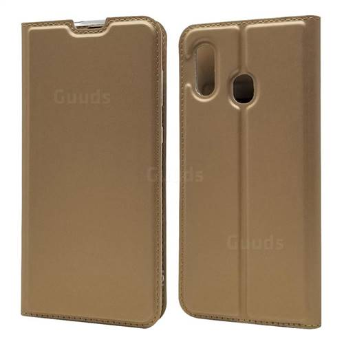 Ultra Slim Card Magnetic Automatic Suction Leather Wallet Case for Samsung Galaxy A30 Japan Version SCV43 - Champagne