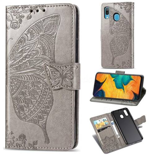 Embossing Mandala Flower Butterfly Leather Wallet Case for Samsung Galaxy A30 Japan Version SCV43 - Gray