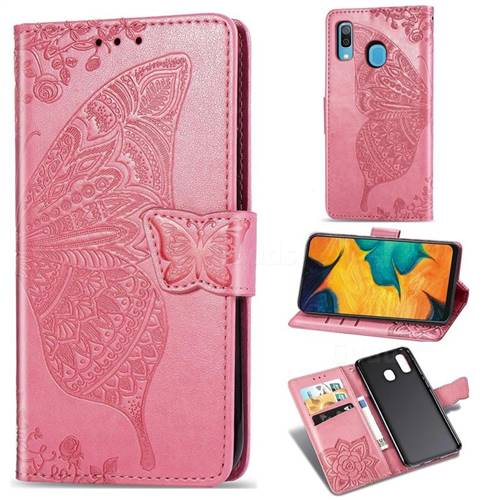 Embossing Mandala Flower Butterfly Leather Wallet Case for Samsung Galaxy A30 Japan Version SCV43 - Pink