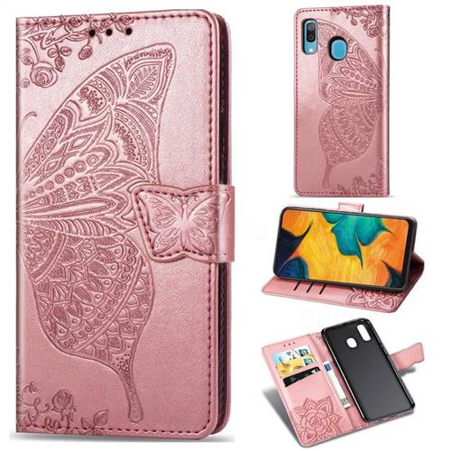 Embossing Mandala Flower Butterfly Leather Wallet Case for Samsung Galaxy A30 Japan Version SCV43 - Rose Gold