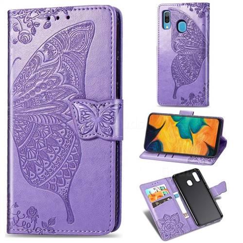 Embossing Mandala Flower Butterfly Leather Wallet Case for Samsung Galaxy A30 Japan Version SCV43 - Light Purple