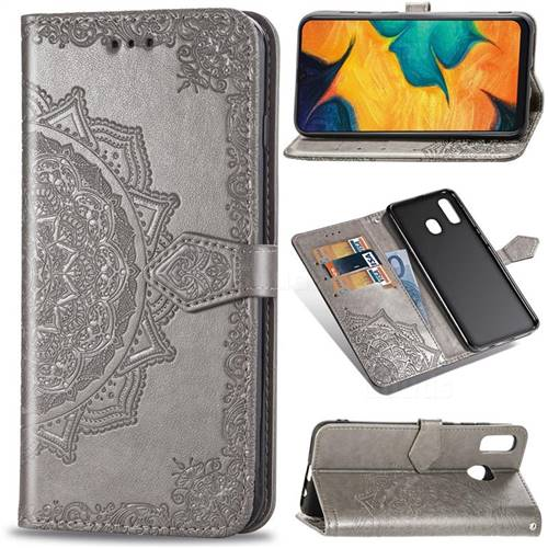 Embossing Imprint Mandala Flower Leather Wallet Case for Samsung Galaxy A30 Japan Version SCV43 - Gray