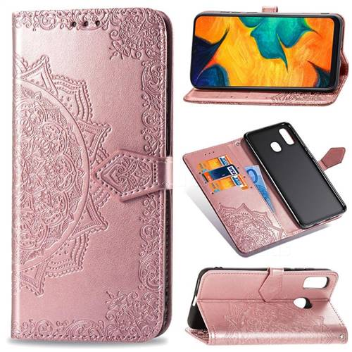 Embossing Imprint Mandala Flower Leather Wallet Case for Samsung Galaxy A30 Japan Version SCV43 - Rose Gold