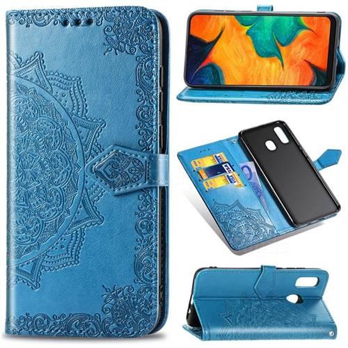 Embossing Imprint Mandala Flower Leather Wallet Case for Samsung Galaxy A30 Japan Version SCV43 - Blue