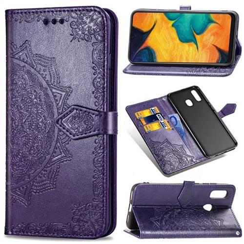 Embossing Imprint Mandala Flower Leather Wallet Case for Samsung Galaxy A30 Japan Version SCV43 - Purple