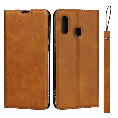 Calf Pattern Magnetic Automatic Suction Leather Wallet Case for Samsung Galaxy A30 Japan Version SCV43 - Brown