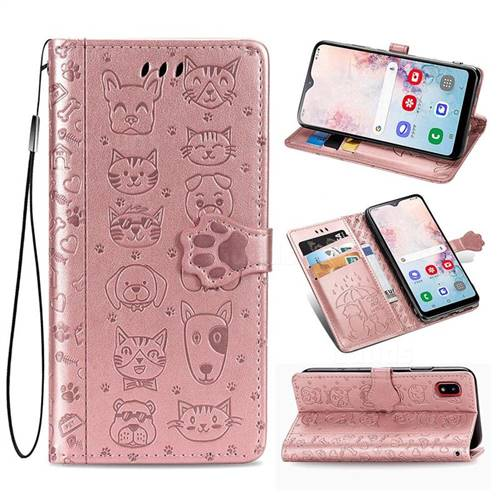 Embossing Dog Paw Kitten and Puppy Leather Wallet Case for Samsung Galaxy A30 Japan Version SCV43 - Rose Gold