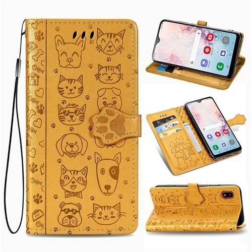 Embossing Dog Paw Kitten and Puppy Leather Wallet Case for Samsung Galaxy A30 Japan Version SCV43 - Yellow