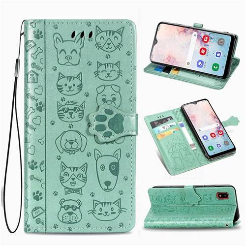 Embossing Dog Paw Kitten and Puppy Leather Wallet Case for Samsung Galaxy A30 Japan Version SCV43 - Green
