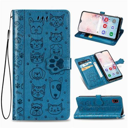 Embossing Dog Paw Kitten and Puppy Leather Wallet Case for Samsung Galaxy A30 Japan Version SCV43 - Blue