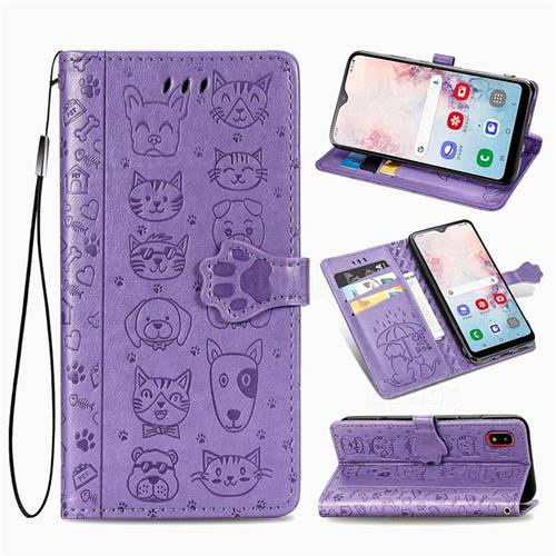 Embossing Dog Paw Kitten and Puppy Leather Wallet Case for Samsung Galaxy A30 Japan Version SCV43 - Purple