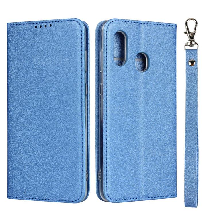Ultra Slim Magnetic Automatic Suction Silk Lanyard Leather Flip Cover for Samsung Galaxy A30 Japan Version SCV43 - Sky Blue