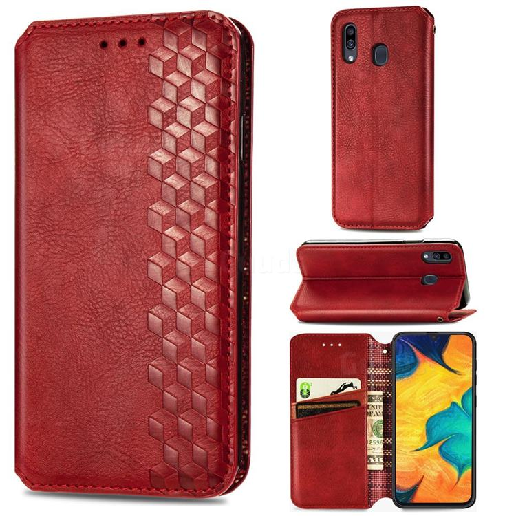 Ultra Slim Fashion Business Card Magnetic Automatic Suction Leather Flip Cover for Samsung Galaxy A30 Japan Version SCV43 - Red