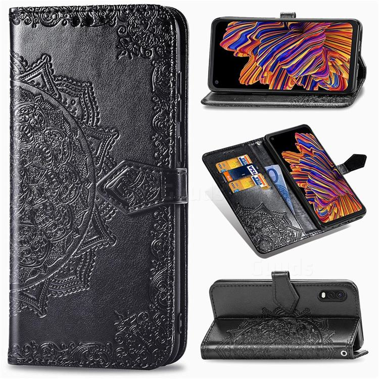 Embossing Imprint Mandala Flower Leather Wallet Case for Samsung Galaxy Xcover Pro G715 - Black