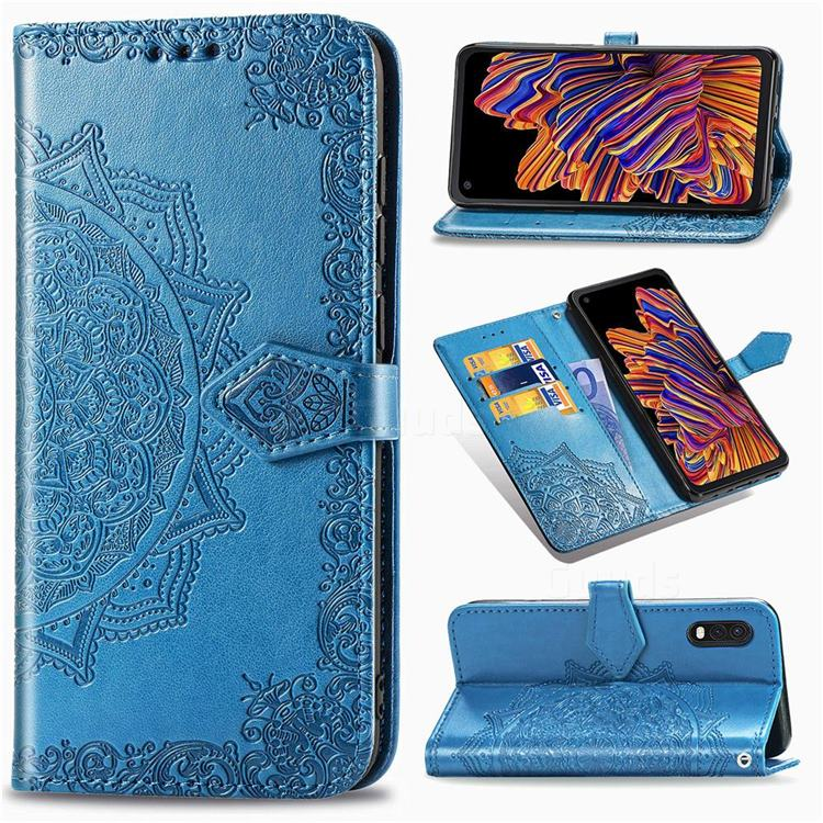Embossing Imprint Mandala Flower Leather Wallet Case for Samsung Galaxy Xcover Pro G715 - Blue