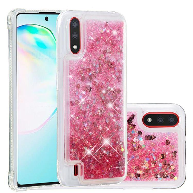 Dynamic Liquid Glitter Quicksand Sequins TPU Phone Case for Samsung Galaxy A01 - Rose